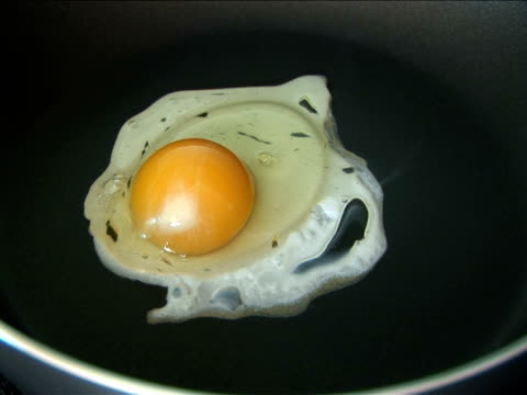 CU, Egg dropping in frying pan and cooking