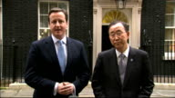David Cameron and Ban Ki Moon statements ENGLAND London Downing Street EXT David Cameron MP and Ban Ki Moon out of Number 10 together for press...