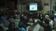 Egyptian fans watch a quarterfinal football game between Egypt and Morocco in a cafe during the 2017 Africa Cup of Nations in Cairo Egypt on January...