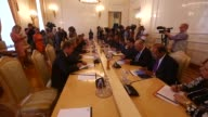 Egyptian Foreign Minister Sameh Shoukry meets with his Russian counterpart Sergei Lavrov at Russian Foreign Ministry's Reception House on August 21...