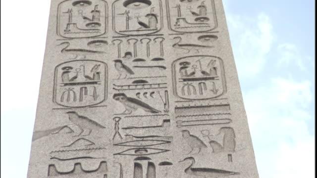 Egyptian hieroglyphics decorate Cleopatra's Needle in Paris.