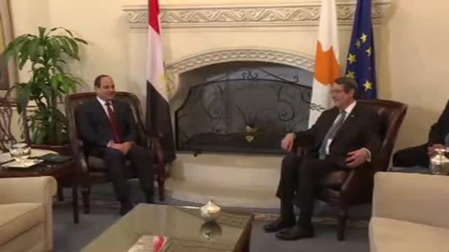 Egyptian President Abdel Fattah al Sissi met on Monday his Cypriot counterpart Nicos Anastasiades in Nicosia