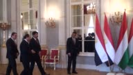 Egyptian President Abdel Fattah AlSisi holds a interdelegation meeting with his Hungarian counterpart Janos Ader at the presidential palace in...