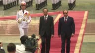 Egyptian president Abdel Fattah elSisi is greeted by his Vietnamese counterpart Tran Dai Quang as he begins a two day state visit to Vietnam