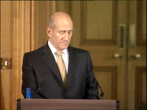 Ehud Olmert press conference with Gordon Brown Ehud Olmert press conference SOT On Annapolis as setting the direction of rather than finding solution...