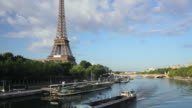 WS TU Eiffel tower and river Seine seen from Passerelle Debilly at sunrise, Paris, France