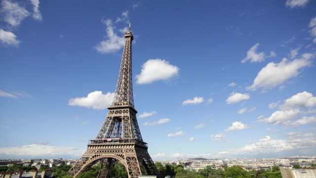 Eiffel Tower, elevated view over the city skyline, Paris, France, Europe