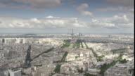WS PAN Eiffel tower,  golden dome of Les Invalides, Arc de Triomphe and Paris skyscrapers of La Defense in background / Paris, '_le-de-France, France