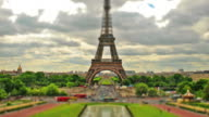 Eiffel tower timelapse HD video. Tilt shift effect