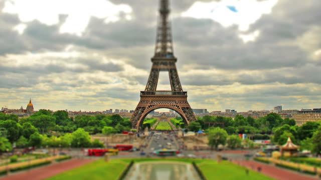 Eiffel tower timelapse HD video. Tilt shift effect