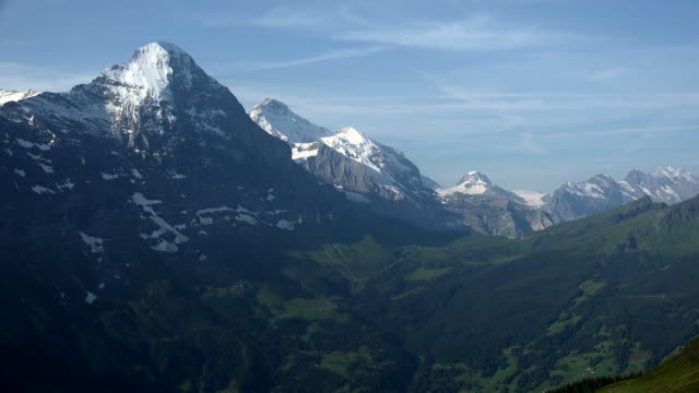 Eiger and Jungfrau seen from First, Grindelwald, Bernese Alps, Switzerland, Europe