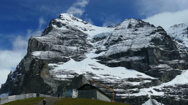Eiger and Jungfraubahn station Eigergletscher, Bernese Alps, Switzerland, Europe
