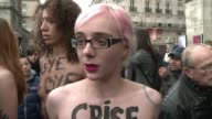 Eight feminists flashed their breasts in the heart of Pariss Notre Dame cathedral on Tuesday to celebrate Pope Benedict XVIs shock resignation...