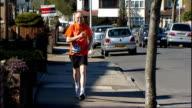 Eightysixyearold man to run London Marathon Paul Freedman interview SOT Freedman running down street Low angle shot Freedman running Saint Francis...
