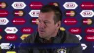 El entrenador de Brasil Dunga expreso este sabado su descontento despues de que su estrella Neymar quedara fuera de la Copa América