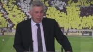 El italiano Carlo Ancelotti nuevo tecnico del Real Madrid al que califico como el club mas prestigioso del mundo quiere hacer un fútbol espectacular...