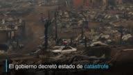 El poblado Santa Olga en el centro de Chile fue arrasado por las llamas que azotan siete de las quince regiones del pais la mayor parte de las...