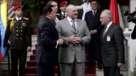 El presidente de Venezuela Hugo Chavez recibio en Caracas a su homologo bielorruso Alexander Lukashenko a quien llamo 'hermano' VOICED Chavez recibe...