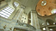 Elaborate carvings adorn the interior of the Dresden Frauenkirche in Germany. Available in HD.