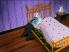 1948 ANIMATION elderly man lifting bare mattress on bedframe to reveal stash of dollar bills