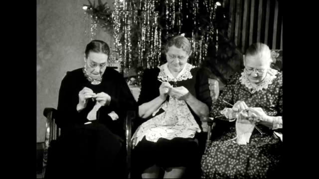 Elderly Swedish Immigrant Women Knitting and Talking in Minnesota