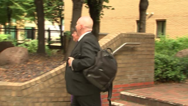 Court departures ENGLAND London Southwark Crown Court EXT Marion Little departing Southwark Crown Court / Craig Mackinlay MP leaving court with wife...