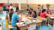 Election officials count votes of the parliamentary election at a polling station in Tirana Albania on June 27 2017 Albania's electorate headed to...
