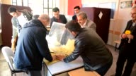 Election officials start counting ballots at a polling station in Bitlis on April 16 2017 after the voting for the constitutional referendum ended...