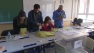 Election officials start counting ballots at a polling station in Istanbul on April 16 2017 after the voting for the constitutional referendum ended...