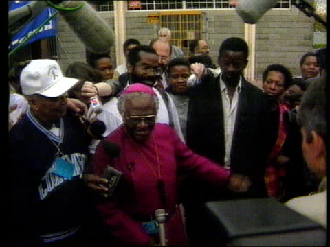 Elections ITN Archbishop Desmond Tutu intvwd SOT We will be working for a common prosperity / We are a rainbow people/ We said we wanted democracy...