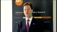 Nick Clegg speech on AV Nick Clegg speech SOT Thank the IPPR for their report / Liberals have been champions of political reform since the formation...