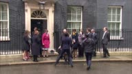 Petition delivered to Downing Street ENGLAND London Downing Street EXT Nigel Farage MEP and Suzanne Evans along / Close up Farage with umbrella /...