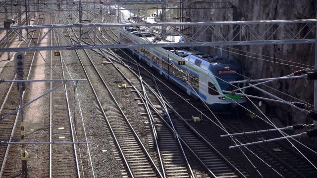 Electric train in suburban district