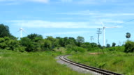 electric wind turbines generators near railroad