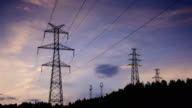 Electrical Pylons translation at sunrise 4K Time Lapse Video