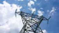 Electrical tower with cloudscape