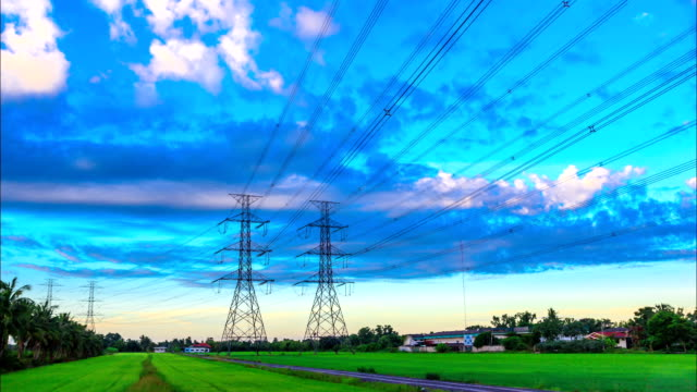 electricity high voltage power pylon at morning