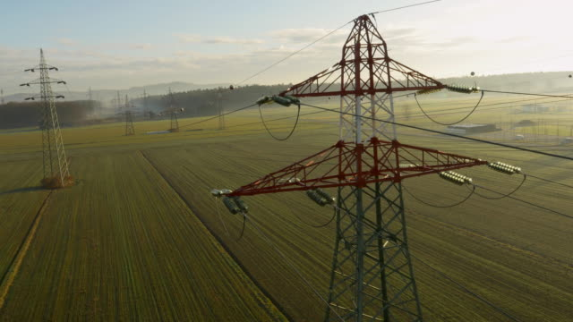 AERIAL Electricity pylons in the countryside