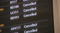 Electronic sign boards at Heathrow airport displaying cancelled flights following closure of UK airspace due to huge volcanic eruption in Iceland...