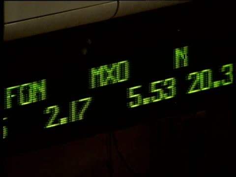 Electronic ticker-tape with numerical figures scroll past New York Stock Exchange