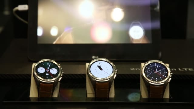 LG Electronics Inc Urbane 2nd edition smart watches are displayed at the launch event for company's V10 smartphones during a launch event in Seoul...