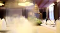 Elegant dinner table setting at reception