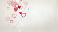 Elegant Hearts Background Loop - Pastel Red & Grey (Full HD)