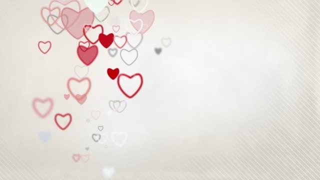 Elegant Hearts Background Loop - Pastel Red & Grey (Full HD)