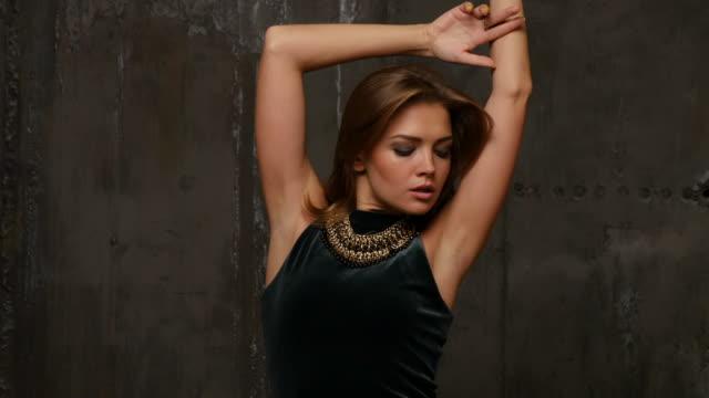 Elegant professional model posing in studio