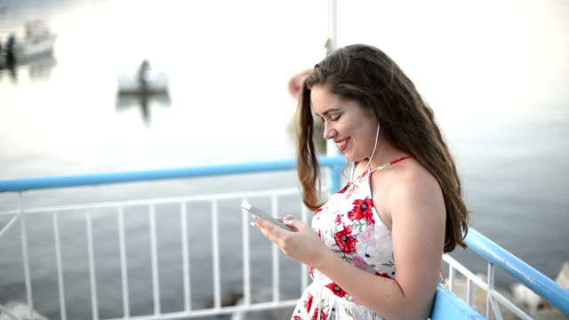 Elegant woman texting messages