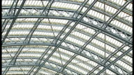 Elektra the Hawk at St Pancras station General view of champagne bar Roof of station TILT DOWN to bar area Passengers seated in bar area