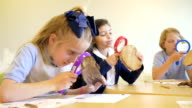 Elemenatry student in private school using magnifying glass in science class