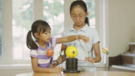 Elementary aged sisters learning astronomy while home schooling