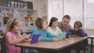 Elementary school aged children working on digital media tablets with teacher in classroom